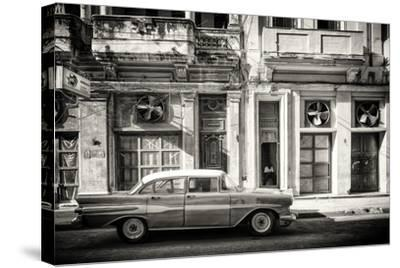 Cuba Fuerte Collection B&W - Classic Car in Central Havana Street III-Philippe Hugonnard-Stretched Canvas Print