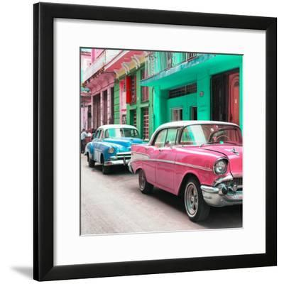 Cuba Fuerte Collection SQ - Old Cars Chevrolet Pink and Blue-Philippe Hugonnard-Framed Photographic Print
