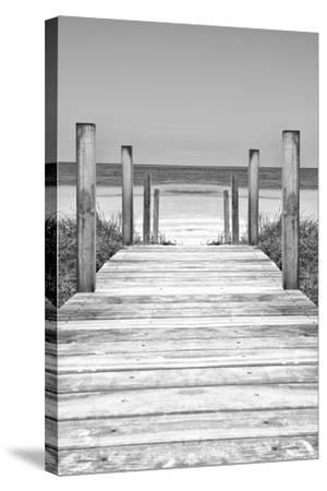 Cuba Fuerte Collection B&W - Wooden Pier on Tropical Beach X-Philippe Hugonnard-Stretched Canvas Print