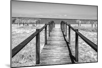 Cuba Fuerte Collection B&W - Wooden Pier on Tropical Beach IV-Philippe Hugonnard-Mounted Photographic Print