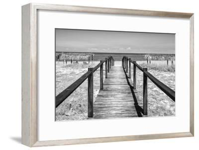 Cuba Fuerte Collection B&W - Wooden Pier on Tropical Beach IV-Philippe Hugonnard-Framed Photographic Print