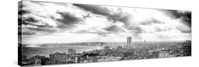 Cuba Fuerte Collection Panoramic BW - Rays of light on Havana-Philippe Hugonnard-Stretched Canvas Print