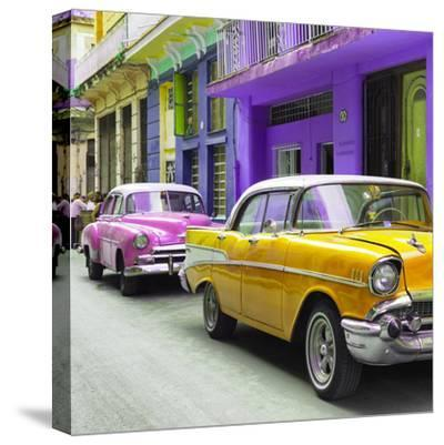 Cuba Fuerte Collection SQ - Old Cars Chevrolet Yellow and Pink-Philippe Hugonnard-Stretched Canvas Print