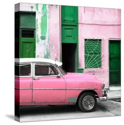 Cuba Fuerte Collection SQ - Havana's Pink Vintage Car-Philippe Hugonnard-Stretched Canvas Print