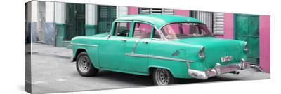 Cuba Fuerte Collection Panoramic - Cuban Turquoise Classic Car in Havana-Philippe Hugonnard-Stretched Canvas Print