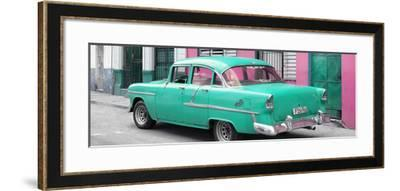 Cuba Fuerte Collection Panoramic - Cuban Turquoise Classic Car in Havana-Philippe Hugonnard-Framed Photographic Print