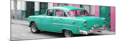 Cuba Fuerte Collection Panoramic - Cuban Turquoise Classic Car in Havana-Philippe Hugonnard-Mounted Photographic Print