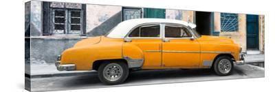 Cuba Fuerte Collection Panoramic - Havana's Orange Vintage Car-Philippe Hugonnard-Stretched Canvas Print