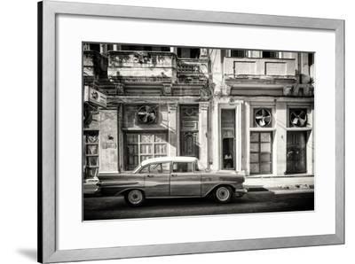 Cuba Fuerte Collection B&W - Classic Car in Central Havana Street III-Philippe Hugonnard-Framed Photographic Print