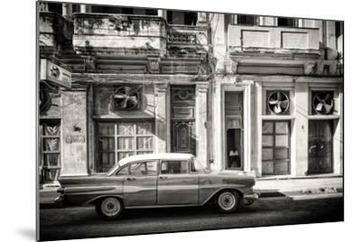 Cuba Fuerte Collection B&W - Classic Car in Central Havana Street III-Philippe Hugonnard-Mounted Photographic Print