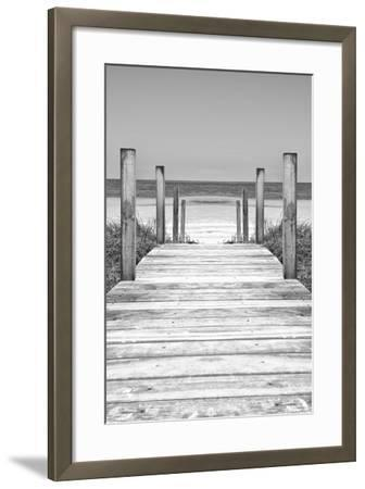 Cuba Fuerte Collection B&W - Wooden Pier on Tropical Beach X-Philippe Hugonnard-Framed Photographic Print