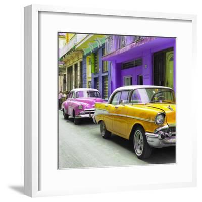 Cuba Fuerte Collection SQ - Old Cars Chevrolet Yellow and Pink-Philippe Hugonnard-Framed Photographic Print