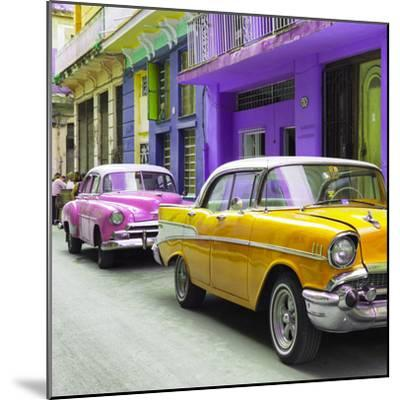 Cuba Fuerte Collection SQ - Old Cars Chevrolet Yellow and Pink-Philippe Hugonnard-Mounted Photographic Print