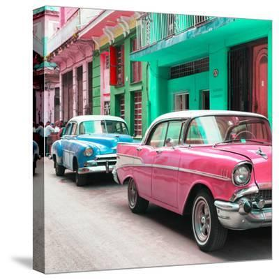 Cuba Fuerte Collection SQ - Old Cars Chevrolet Pink and Blue-Philippe Hugonnard-Stretched Canvas Print