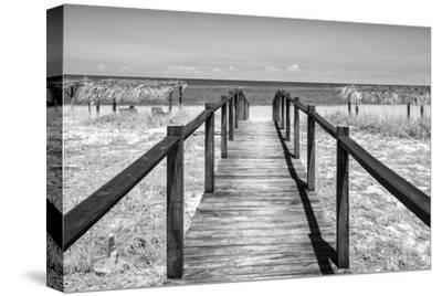 Cuba Fuerte Collection B&W - Wooden Pier on Tropical Beach IV-Philippe Hugonnard-Stretched Canvas Print