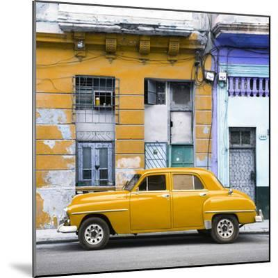 Cuba Fuerte Collection SQ - Yellow Vintage American Car in Havana-Philippe Hugonnard-Mounted Photographic Print