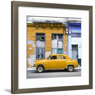 Cuba Fuerte Collection SQ - Yellow Vintage American Car in Havana-Philippe Hugonnard-Framed Photographic Print
