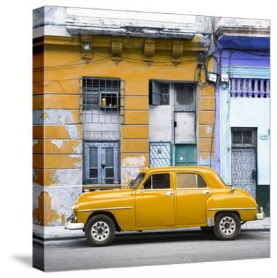 Cuba Fuerte Collection SQ - Yellow Vintage American Car in Havana-Philippe Hugonnard-Stretched Canvas Print