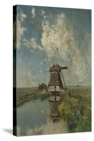 A Windmill on a Polder Waterway, C. 1889-Paul Joseph Constantin Gabriel-Stretched Canvas Print