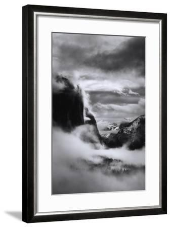 Mystical Magical Surreal Yosemite Valley in Winter Clouds Black White-Vincent James-Framed Photographic Print