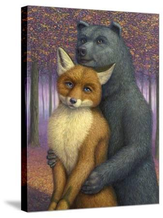 Fox and Bear Couple-W Johnson James-Stretched Canvas Print