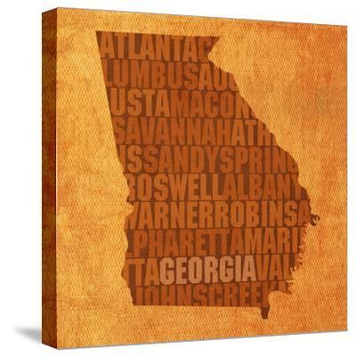 Georgia State Words-David Bowman-Stretched Canvas Print