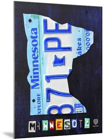 Minnesota License Plate Map-Design Turnpike-Mounted Giclee Print