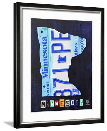 Minnesota License Plate Map-Design Turnpike-Framed Giclee Print