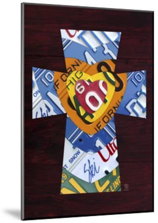 License Plate Art Heart Cross-Design Turnpike-Mounted Giclee Print