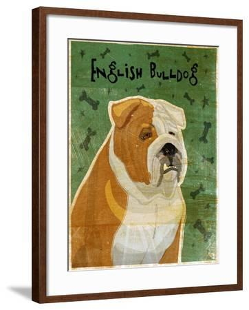 English Bulldog Tan and White-John W Golden-Framed Giclee Print