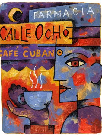 Cafe Cubano-Jim Dryden-Stretched Canvas Print