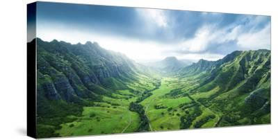 Kaaawa Valley Wide-Cameron Brooks-Stretched Canvas Print