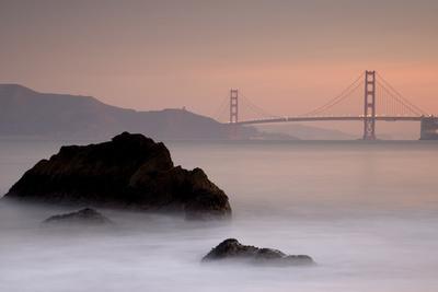 Rocks And Golden Gate Bridge-Moises Levy-Framed Photographic Print