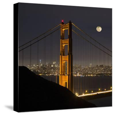 Golden Gate and Moon-Moises Levy-Stretched Canvas Print