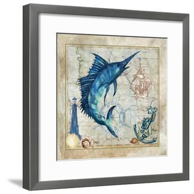 Nautical Swordfish-Jill Meyer-Framed Art Print