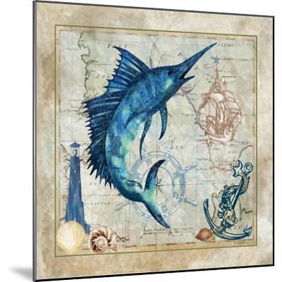 Nautical Swordfish-Jill Meyer-Mounted Art Print
