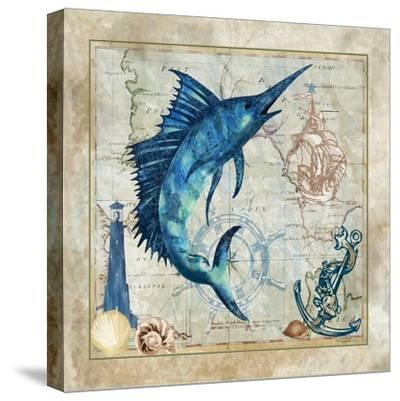Nautical Swordfish-Jill Meyer-Stretched Canvas Print