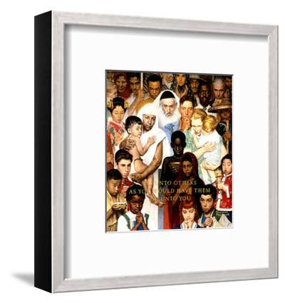 """""""Golden Rule"""" (Do unto others), April 1,1961-Norman Rockwell-Framed Poster"""