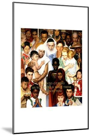 """""""Golden Rule"""" (Do unto others), April 1,1961-Norman Rockwell-Mounted Poster"""