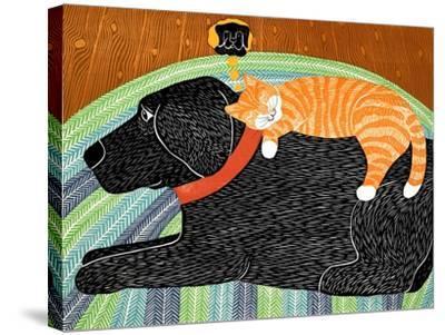 Catnap-Striped Cat Black-Stephen Huneck-Stretched Canvas Print