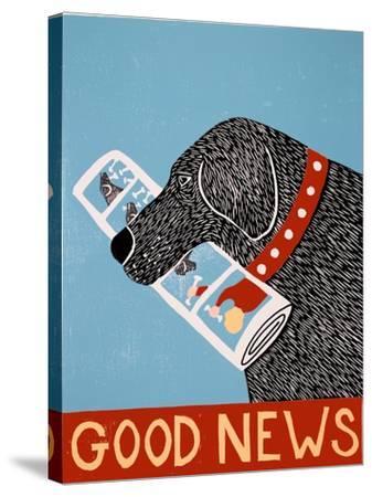 Good News Dog Black-Stephen Huneck-Stretched Canvas Print