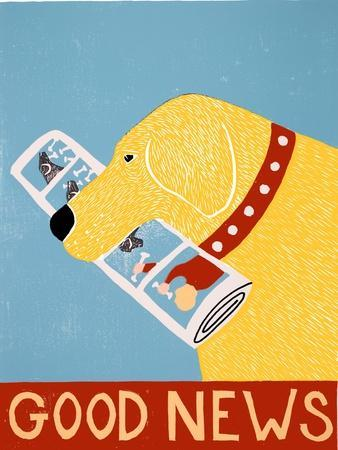 Good News Dog Yellow-Stephen Huneck-Framed Giclee Print