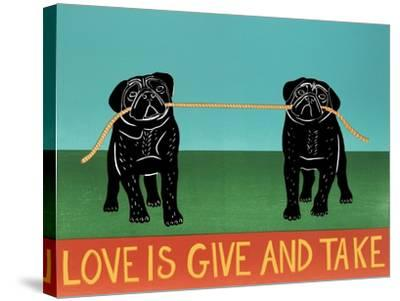 Love Is Give And Take  Pugs Black-Stephen Huneck-Stretched Canvas Print