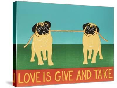 Love Is Give And Take  Pugs-Stephen Huneck-Stretched Canvas Print