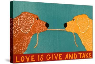 Love Is Gold Red Goldens-Stephen Huneck-Stretched Canvas Print