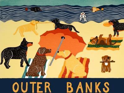 Ocean Ave Outer Banks-Stephen Huneck-Framed Giclee Print