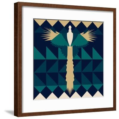 Aztec Peacock-Claire Huntley-Framed Giclee Print
