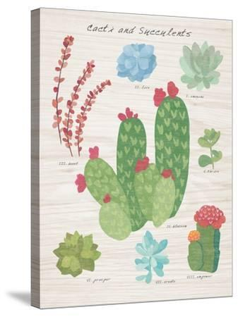 Succulent and Cacti Chart IV on Wood-Wild Apple Portfolio-Stretched Canvas Print