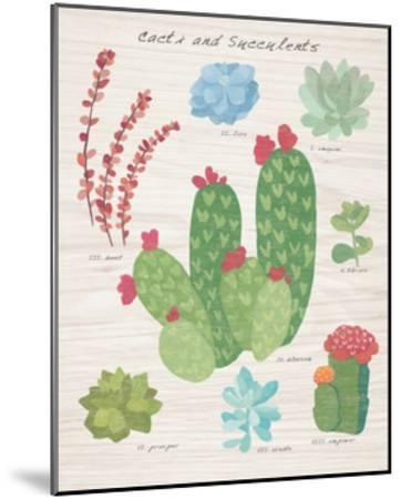 Succulent and Cacti Chart IV on Wood-Wild Apple Portfolio-Mounted Art Print