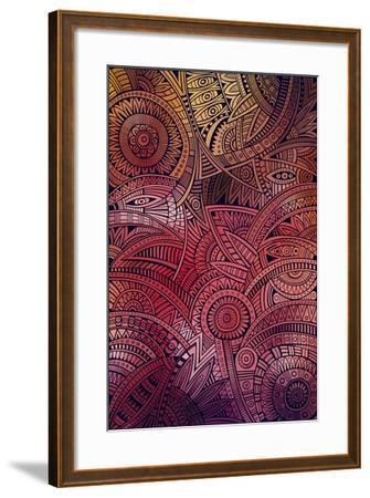 Abstract Vector Tribal Ethnic Background Pattern- balabolka-Framed Art Print